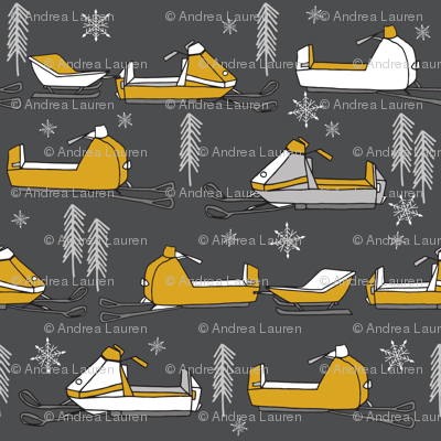 snowmobiles fabric // vintage snowmobile illustration, winter outdoors snow fabric by andrea lauren - charcoal and mustard