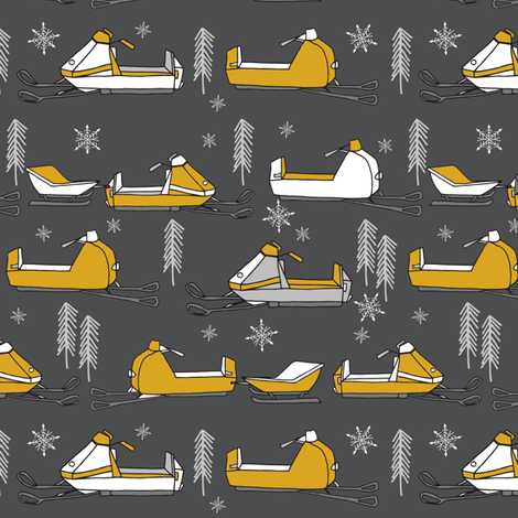 snowmobiles fabric // vintage snowmobile illustration, winter outdoors snow fabric by andrea lauren - charcoal and mustard fabric by andrea_lauren on Spoonflower - custom fabric