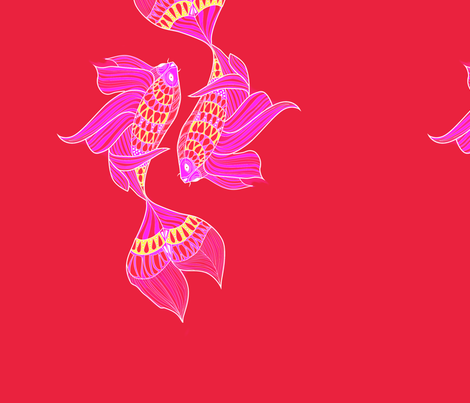 Koi fish pink background fabric artbypg spoonflower for Koi fish material