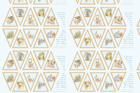 Peter Rabbit Bunting Panel - Light Blue - Large Size fabric by aspenartsstudio on Spoonflower - custom fabric