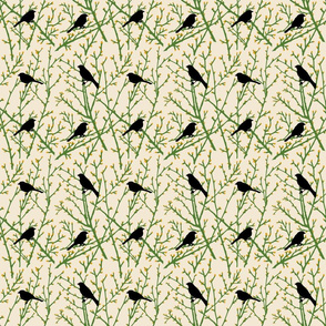 branchy bird - grass/sand/gold/black