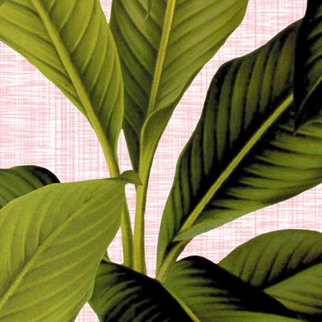 Palm In Palm ~ Dauphine Pink and  White_Linen  fabric by peacoquettedesigns on Spoonflower - custom fabric