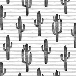 cactus on stripes - monochrome