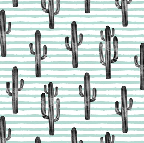 cactus on stripes - dark mint fabric by littlearrowdesign on Spoonflower - custom fabric