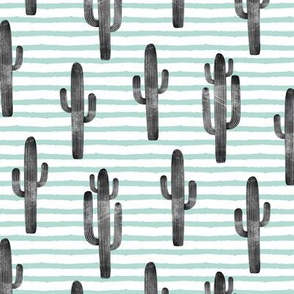 cactus on stripes - dark mint