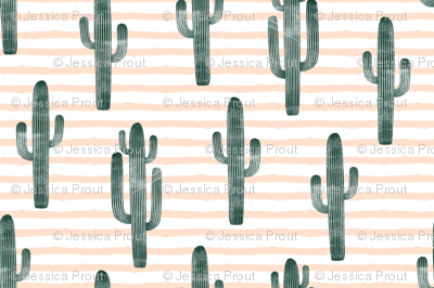 cactus on stripes - green