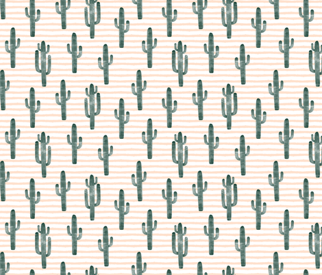 cactus on stripes - green fabric by littlearrowdesign on Spoonflower - custom fabric