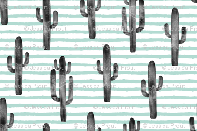 large scale - cactus on stripes - mint