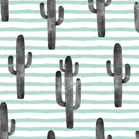 large scale - cactus on stripes - mint fabric by littlearrowdesign on Spoonflower - custom fabric