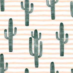 large scale - cactus on stripes - green