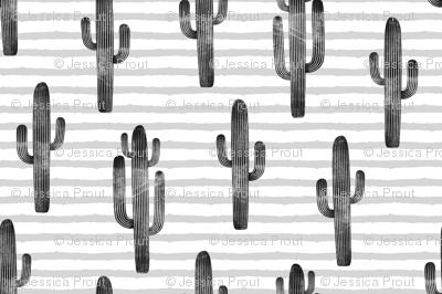 large scale - cactus on stripes - monochrome