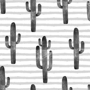large scale - cactus on stripes - monochrome