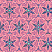 Ornate Turquoise Shuriken Shaped Stars on Pink