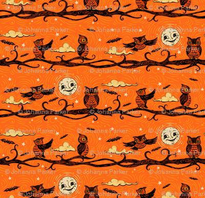 Vintage Halloween Full Moon Owls