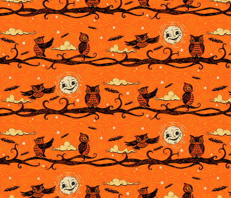Vintage Halloween Full Moon Owls fabric by johannaparkerdesign on Spoonflower - custom fabric