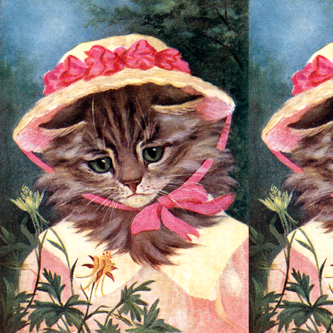 cats forests gardens flowers trees straw hats bows Victorian Elegant Gothic Lolita EGL vintage retro Anthropomorphic whimsical animals ribbons fabric by raveneve on Spoonflower - custom fabric