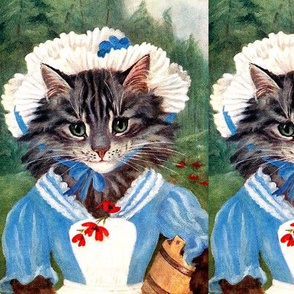 cats Maine Coon milk maids milkmaids farms farmers forests trees flowers Poppy poppies buckets bonnets aprons vintage retro Anthropomorphic whimsical