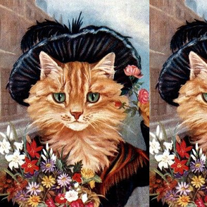 cats Maine Coon flowers floral bouquet roses daisy daisies lily lilies feathers shawl hats sky clouds vintage retro Anthropomorphic whimsical animals colorful