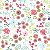 Abstract summer flowers illustration textile pattern