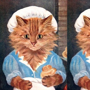 cats Maine Coon Baker bakery chefs cooks pastry pastries food aprons hats caps cooking baking vintage retro Anthropomorphic whimsical animals