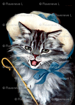 cats Maine Coon vintage retro kitsch mary little lambs sheep nursery rhymes children girls fairy tales toddlers shepherdess  whimsical stories story books bo peep crook staff rod bows hats