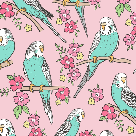 Budgie Birds With Blossom Flowers on Pink fabric by caja_design on Spoonflower - custom fabric