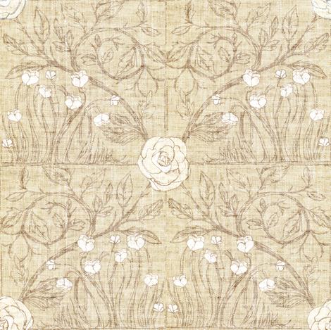 Fable Vintage Tile (wheat linen) fabric by nouveau_bohemian on Spoonflower - custom fabric