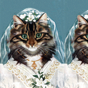wedding gowns bridal brides marriage cats maine coon wedding veil flowers lilies vintage retro kitsch whimsical anthropomorphic
