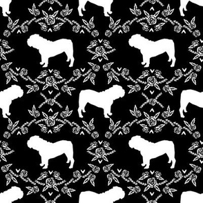 English Bulldog floral silhouette fabric pattern black