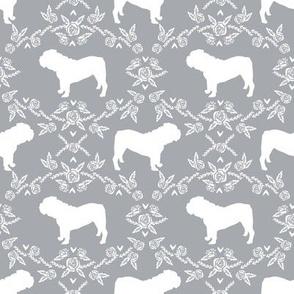 English Bulldog floral silhouette fabric pattern grey