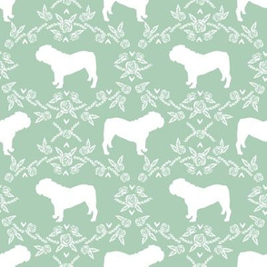 English Bulldog floral silhouette fabric pattern mint