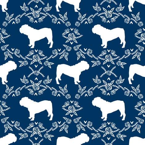 English Bulldog floral silhouette fabric pattern navy fabric by petfriendly on Spoonflower - custom fabric