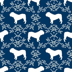 English Bulldog floral silhouette fabric pattern navy