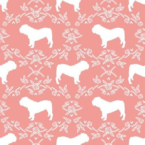 English Bulldog floral silhouette fabric pattern peach