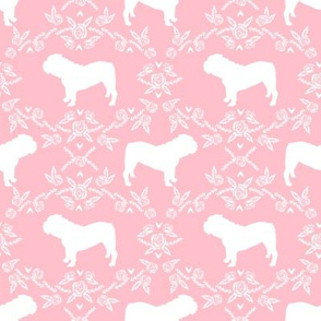 English Bulldog floral silhouette fabric pattern pink