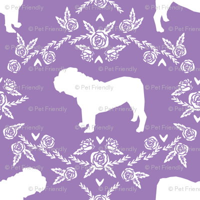English Bulldog floral silhouette fabric pattern purple