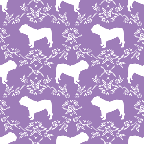 English Bulldog floral silhouette fabric pattern purple fabric by petfriendly on Spoonflower - custom fabric