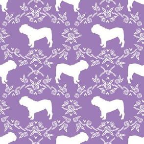 English Bulldog floral silhouette fabric pattern purple