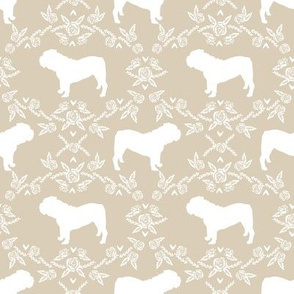 English Bulldog floral silhouette fabric pattern sand