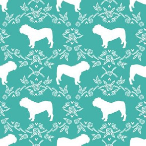 English Bulldog floral silhouette fabric pattern turquoise