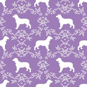 English springer spaniel floral silhouette fabric pattern purple