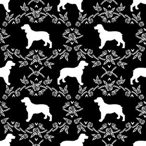 English springer spaniel floral silhouette fabric pattern black