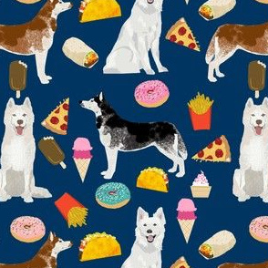 huskies and white shepherd junk food design custom order - navy