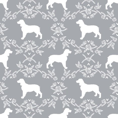 english springer spaniel floral silhouette fabric pattern grey fabric by petfriendly on spoonflower custom fabric