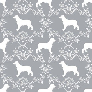 English springer spaniel floral silhouette fabric pattern grey