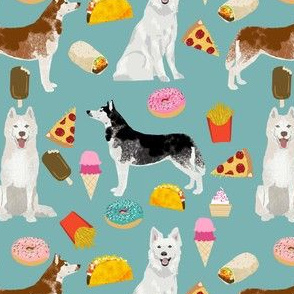 huskies and white shepherd junk food design custom order - gulf blue