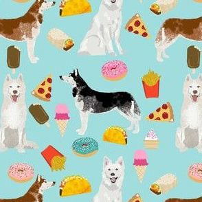 huskies and white shepherd junk food design custom order - light blue