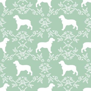 English springer spaniel floral silhouette fabric pattern mint