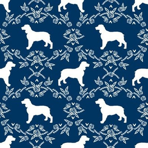 English springer spaniel floral silhouette fabric pattern navy