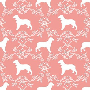 English springer spaniel floral silhouette fabric pattern peach